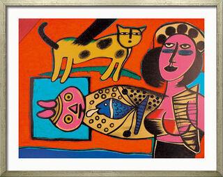 "Bild ""Femme, Chat et l'Oiseau - Frau, Katze und Vogel"" (1999), gerahmt"