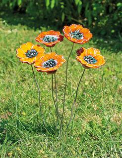 """Gartenstecker-Blumenset """"Orange Blüten"""", 5-teilige Keramik"""