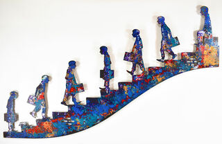 """Wandskulptur """"On the stairs"""", Stahl"""