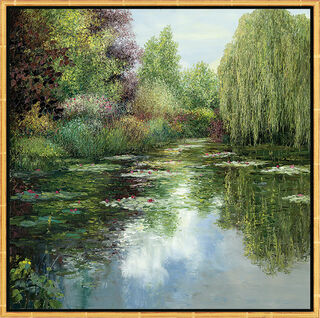 "Bild ""L'étang avec pâturage"", gerahmt"
