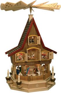 Großes Manufaktur-Adventshaus als Weihnachtspyramide